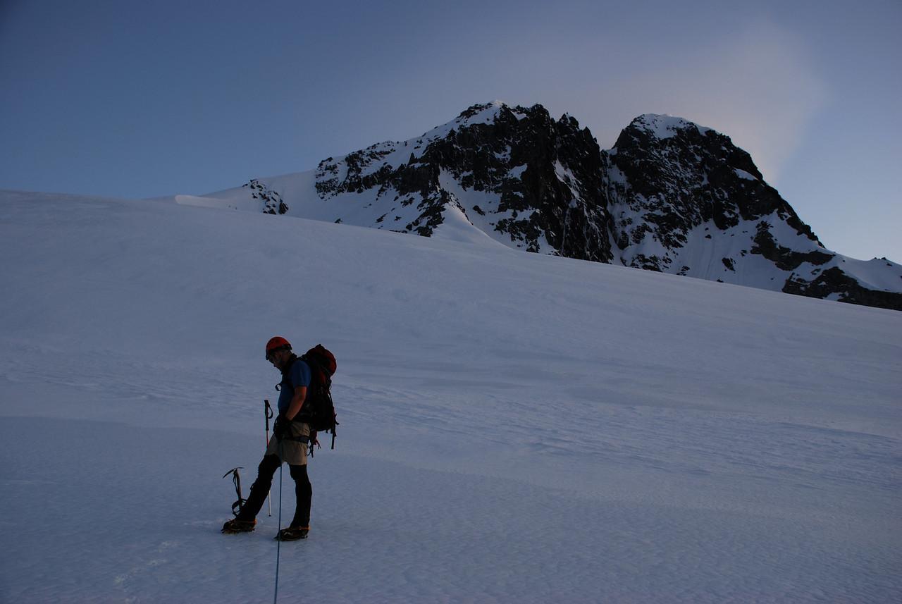 First light on the Hooker Glacier