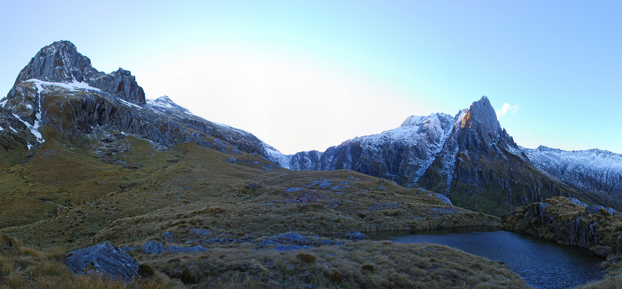 The Buttress, McCullaugh Saddle and Douglas Spur from the tarn south of Tunnel Creek rock bivvy