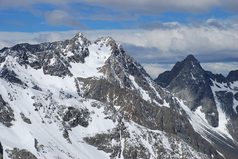 Belfry Peak and Bruce Peak from the saddle between the South Temple and the Ahuriri
