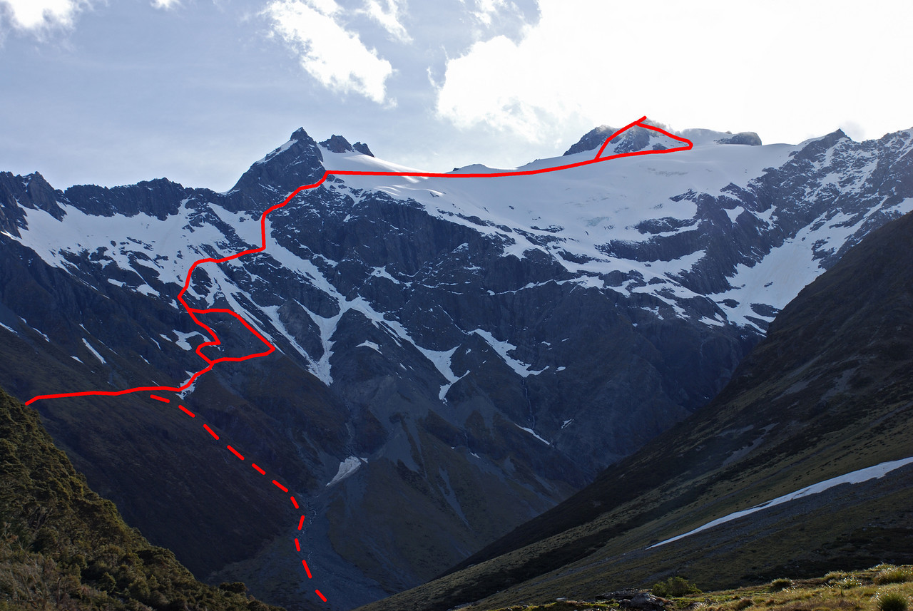 Mt Huxley from the north, with our route up the mountain. The dashed line is the descent from V-Notch Pass to the South Huxley valley floor