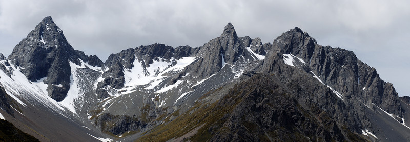Bruce Peak, Steeple Peak and unnamed peak 2200m at the head of the South Temple