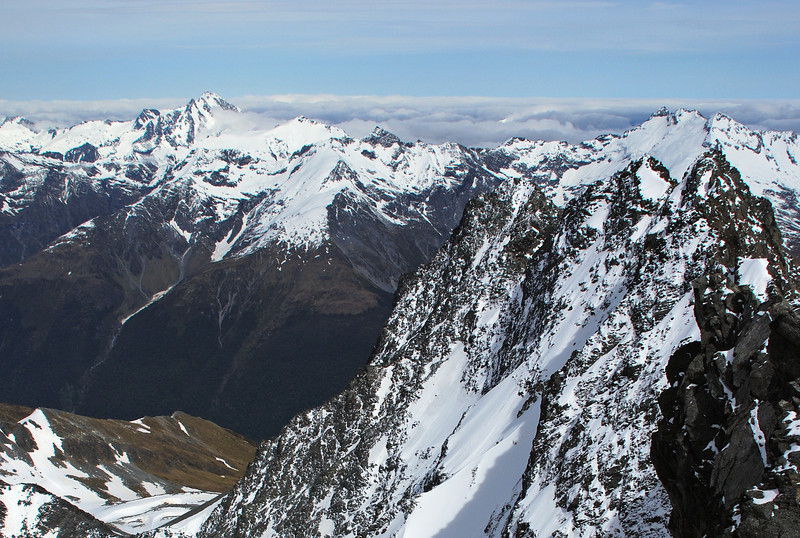 Looking west from the summit of Mt Huxley: Mt Brewster, Mt Tole, Mt Enderby