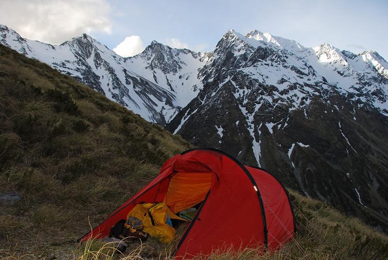 Campsite at 1600m on the slopes of Mt Huxley. College Peak, Protuberance Peak, Stevenson Peak and Soloist Peak in the back