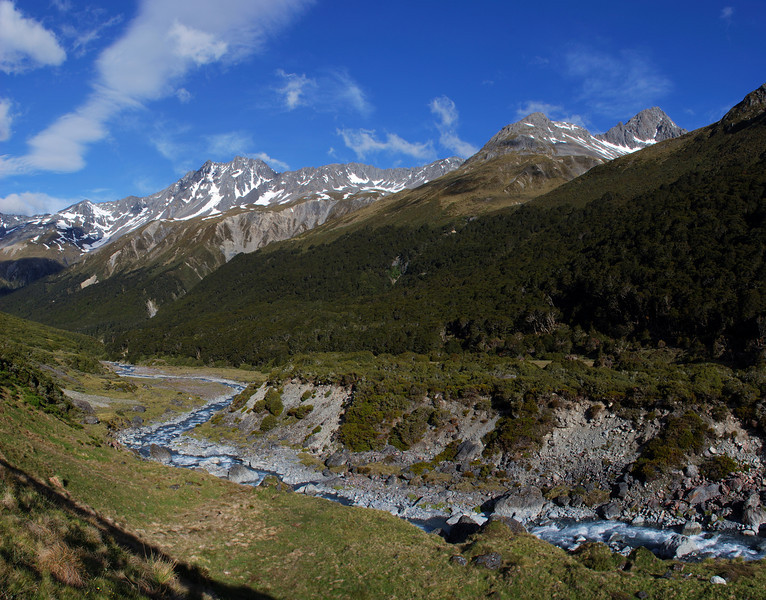 Huxley River South Branch; Rabbiters Peak and Temple Peak above.