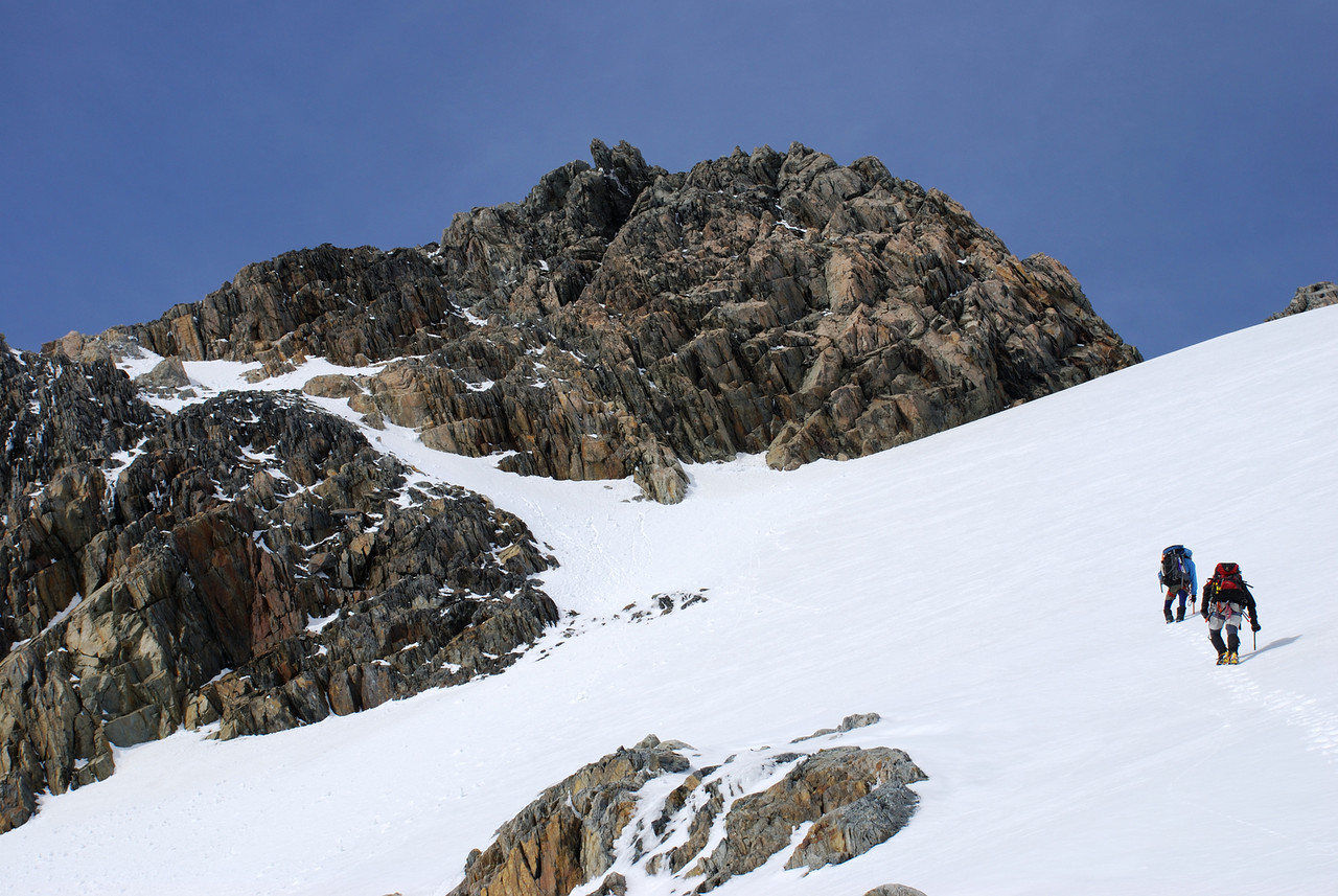 Approaching the summit pyramid of Mt Huxley from the north. We climbed the obvious snow ramp on the left.