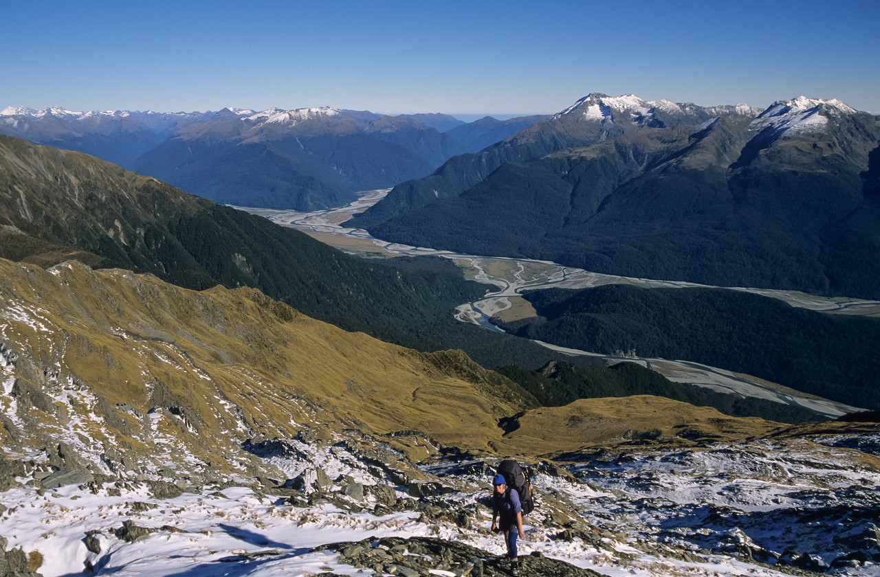 Near Watkins Dome. Landsborough, Clarke and Haast Rivers in the background
