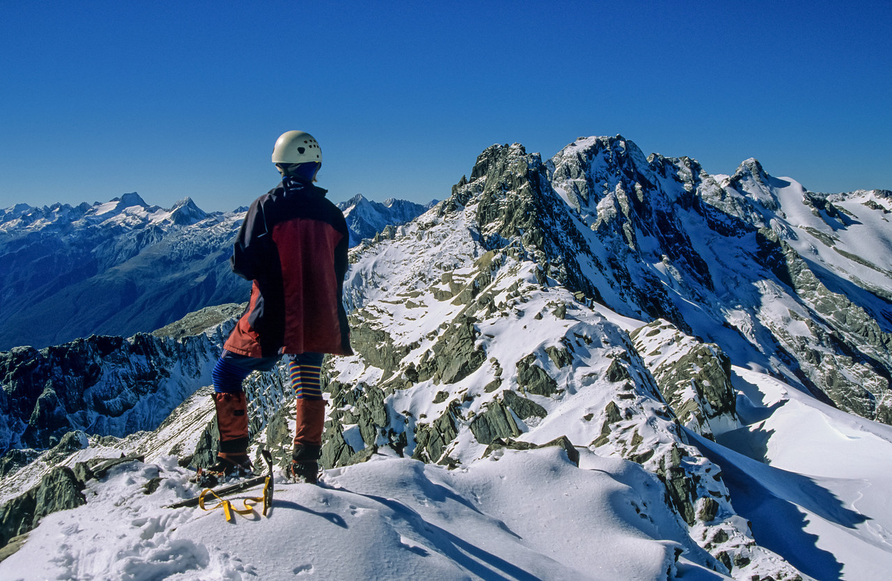 On the summit of Mt Napoleon. Square Top, Wills Peak, Mount Maitland and Mount Pearson in the background