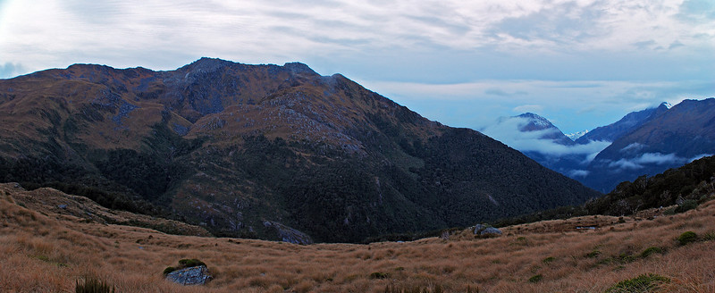 Looking south east from the tops west of Lake Sweeney. Mariners Peak dominates the scene in the left half of the image. The glaciated Mt Maitland (between the Hunter and Landsborough Rivers) is just visible between Eureka and Monro Peak (the latter is in cloud).