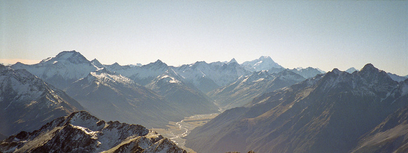 View up the Hopkins: Mt Ward, Mt Sefton and Mt Cook