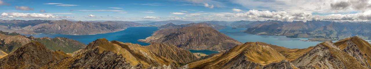 Lakes Hawea and Wanaka panorama from Sentinel Peak