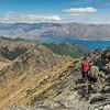 Descending the east ridge of Sentinel Peak. Lake Hawea is in the background.