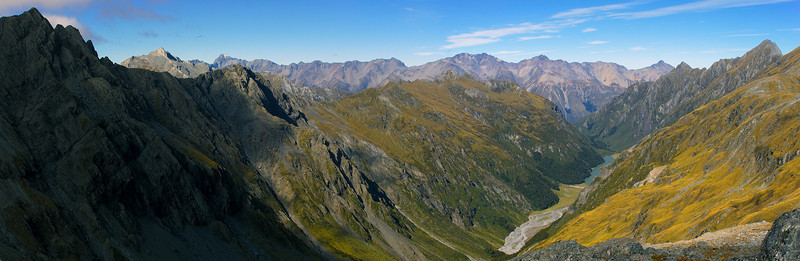 Lake Creek panorama. Tent Peak (left) and the Huxley Range on the horizon