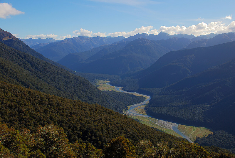 Looking down the Makarora River from the spur between Stewarts Creek and Makarora Gorge