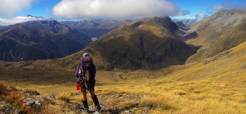 On the northern slopes of unnamed peak 1809m, Stewarts Creek. Mt Brewster, the Makarora River and Stewarts Creek behind
