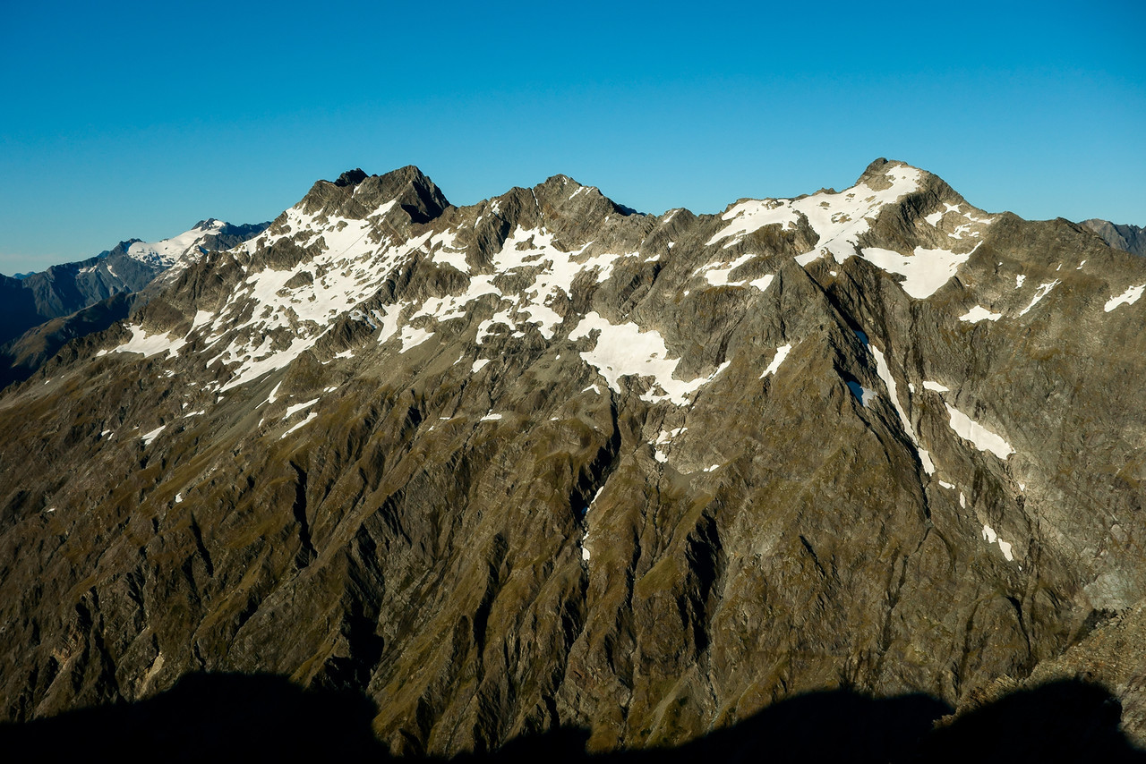The ridge tops west of Paradise Creek between Boanerges (left) and unnamed peak pt 2172m (right) from the east ridge of Taiaha Peak