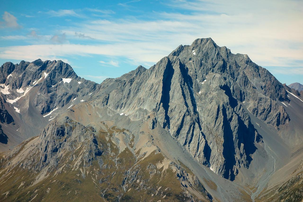 The Naumann Range from Taiaha Peak: Unnamed Peak pt 2385m, Dasler Pinnacles and Mt Glencairn