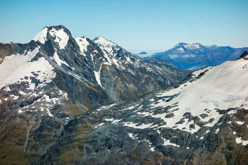 Mt Strauchon and Brodrick Pass from Taiaha Peak. The Glacier of Mt MacKenzie on the far right