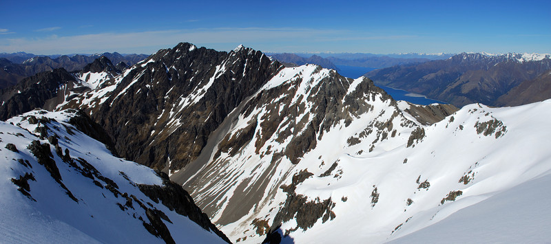 Looking south from peak 2028m: Leaning Mount and Lake Hawea