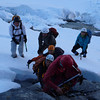 Traffic jam at the foot of the slabs leading to Emily Peak's summit