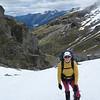 Tiff climbing the snow