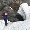 Nina in the schrund of the Merkl Glacier