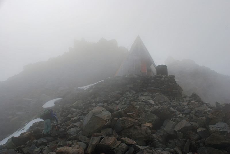 Approaching Haast Hut in thick fog. At least we found it!