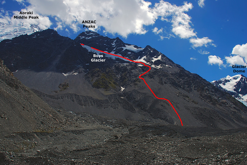 View of the Cinerama Col route (our descent route) from the Tasman Glacier