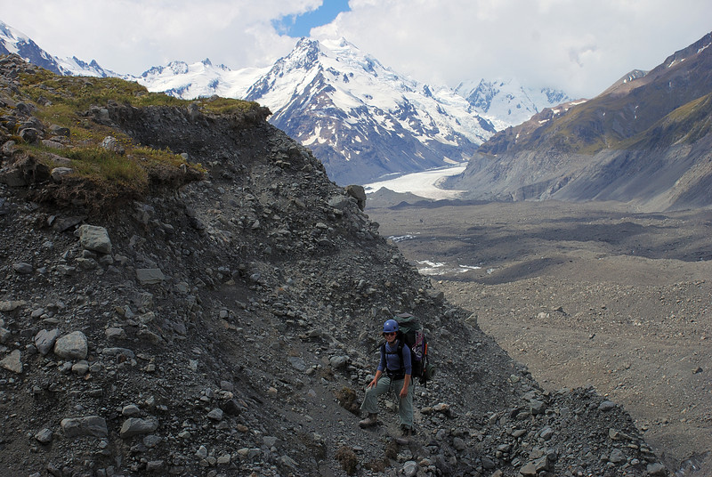 On the moraine walls above the lower Tasman Glacier
