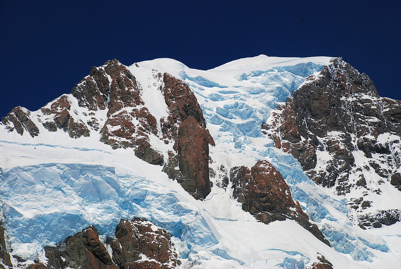 The summit section of Aoraki / Mount Cook from the upper Linda Glacier