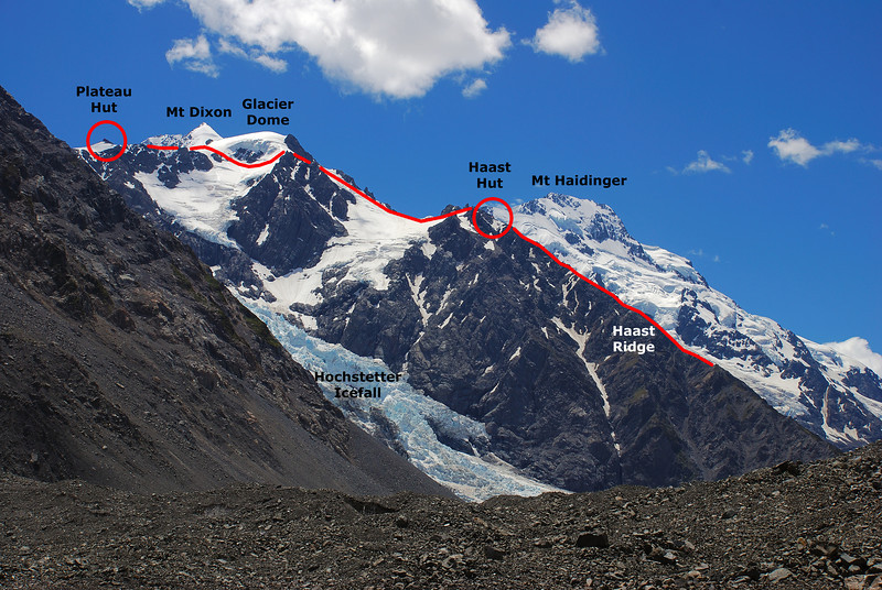 View of the route up Haast Ridge (our walk-in route) from the Tasman Glacier