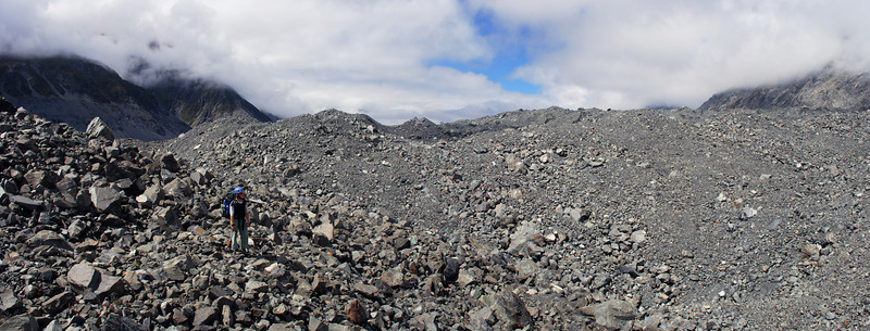 Endless rubble on the Tasman Glacier moraine. A common start to every good trip in Mt Cook National Park