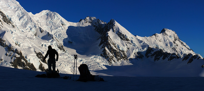 On Cinerama Col. From left to right are Lendenfeld Peak, Mount Haast, Mount Dixon, Mount Haidinger