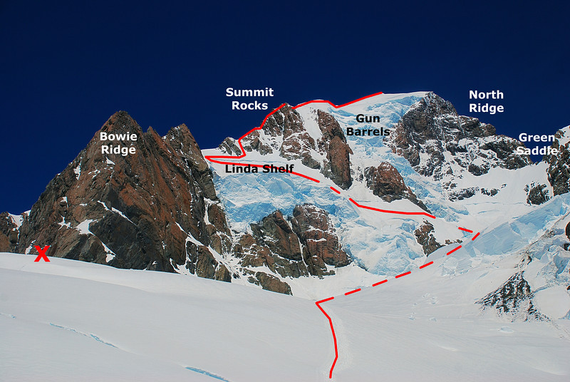 Linda Route on Aoraki / Mount Cook. The 'x' indicates our campsite on Bowie Ridge