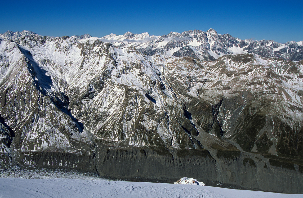 Vioew east from Copland Pass. The Nuns Veil to the right of centre image