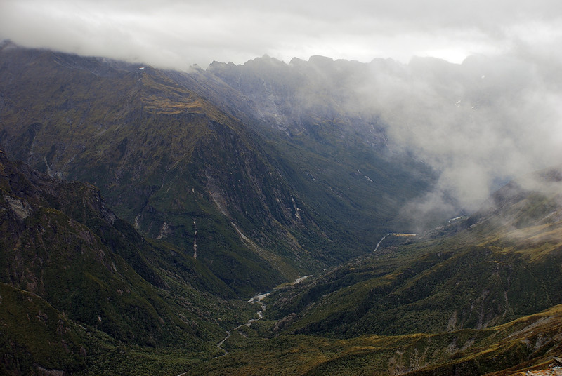 View down the Karangarua River from the slopes of Mt Howitt