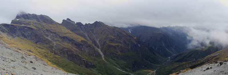 Karangarua River panorama from the slopes of Mt Howitt. Mt Townsend and the Bare Rocky Range on the left