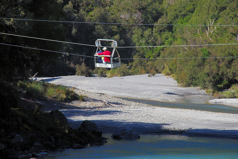 The cableway over the Karangarua River at Cassel Flat.