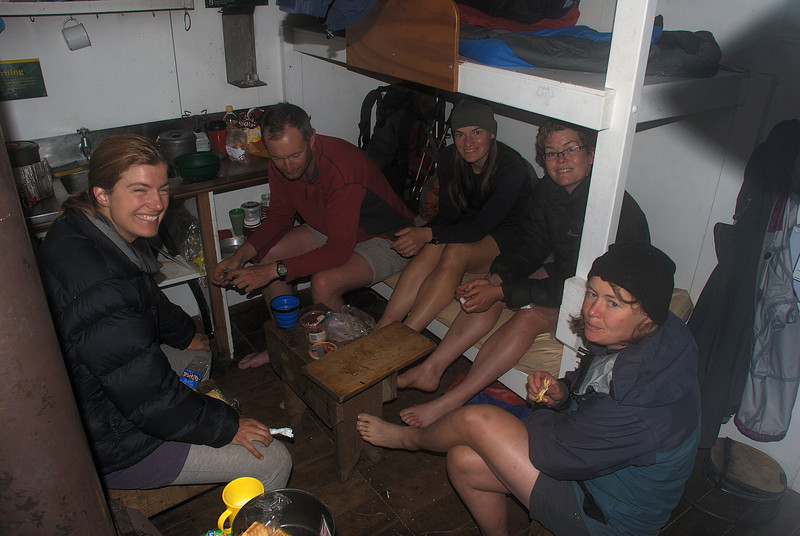 Sitting out the rain at Cassel Flat Hut, Karangarua River