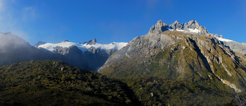 Sierra Range: Mt Glorious and Pioneer Peak from the Douglas River just below Horace Walker Hut