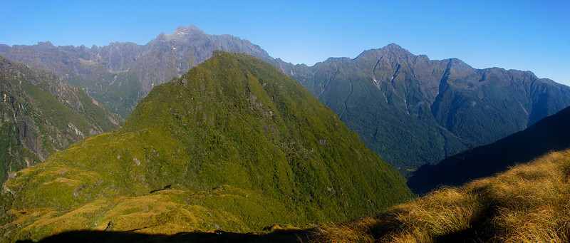 Conical Hill (front) and the Bare Rocky Range (back), Karangarua River. Mt Glower and McGloin Peak are just left of Conical Hill; Mt McDonald is on the right
