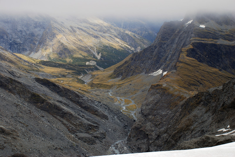 View down the infant Landsborough River below the McKerrow Glacier from The Gladiator. Karangarua Saddle is on the right