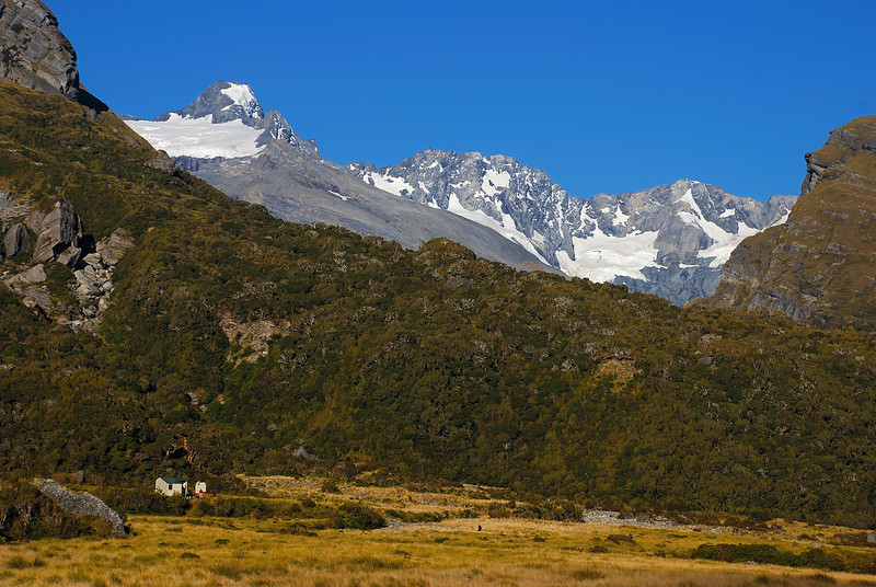 Horace Walker Hut, Douglas River. Mt Thomson, Eagle Peak and Maunga Ma above