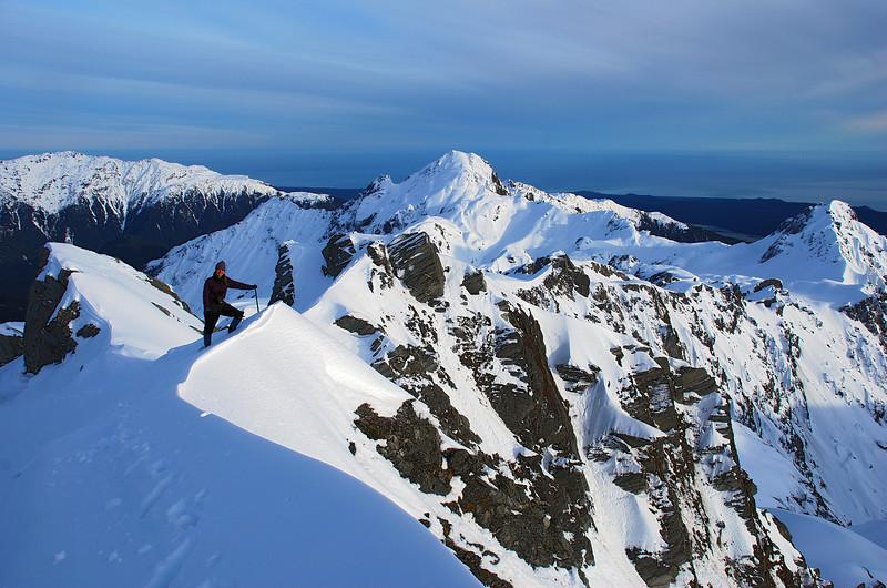 On the summit ridge of Crozet Peak. Craig Peak and Sam Peak in the background