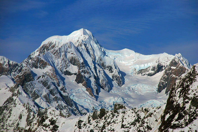 Close up view of Mt Tasman and Silberhorn