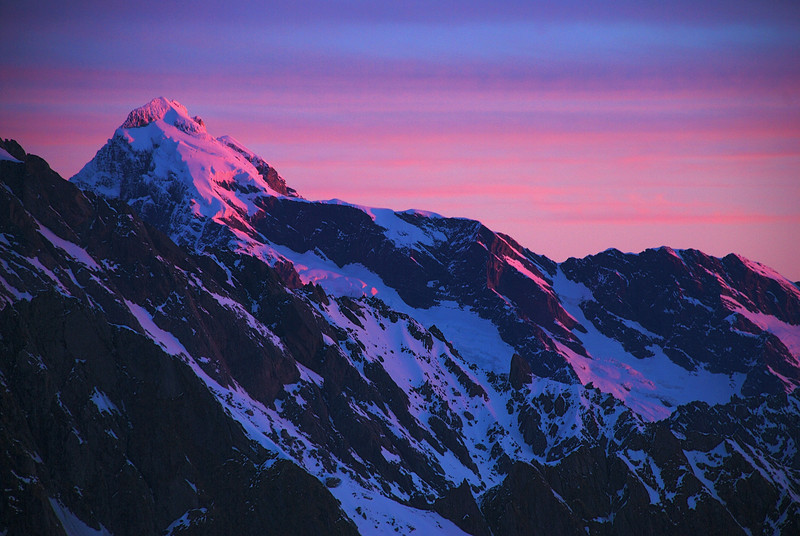 Last evening light on Mount Sefton