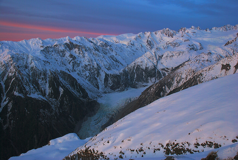 Last evening light on Fox Glacier