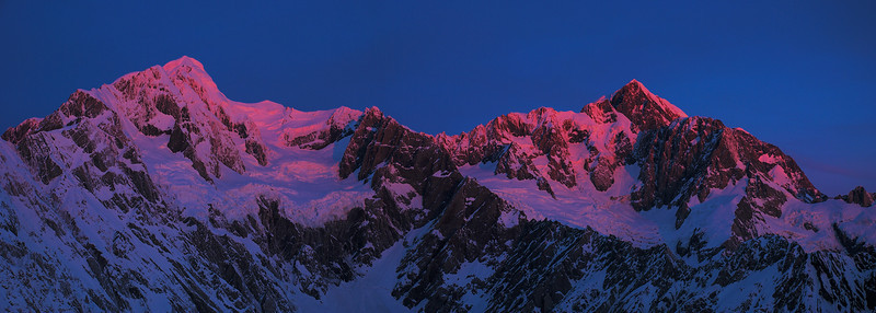 Last evening light on Mount Tasman and Mount Cook