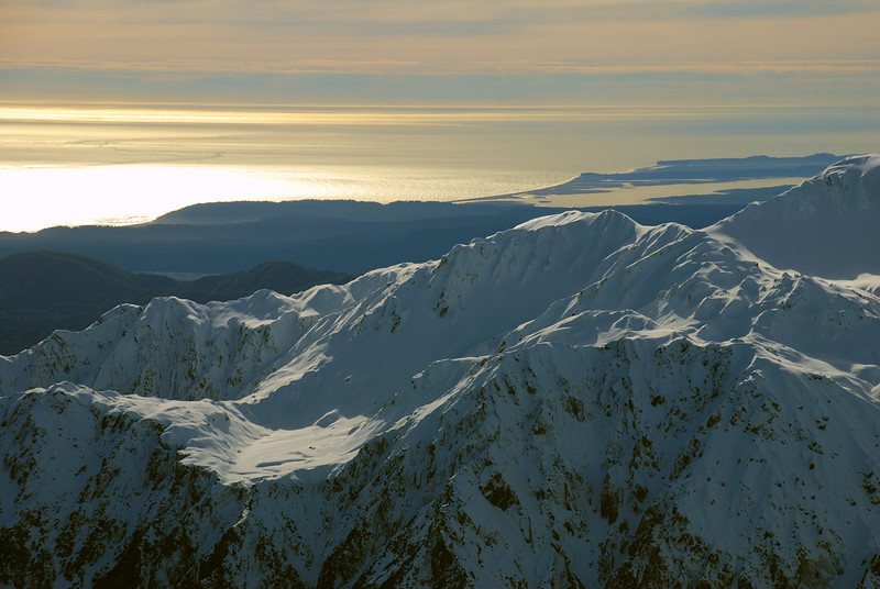 Okarito Lagoon (back) and Mt Mitchell (front) from the summit of Craig Peak, Fox Range