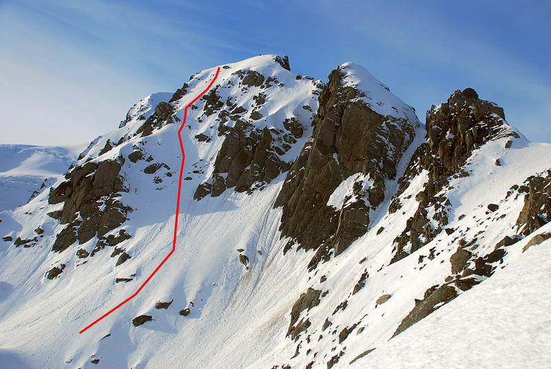 Our route up the north-west face of Crozet Peak