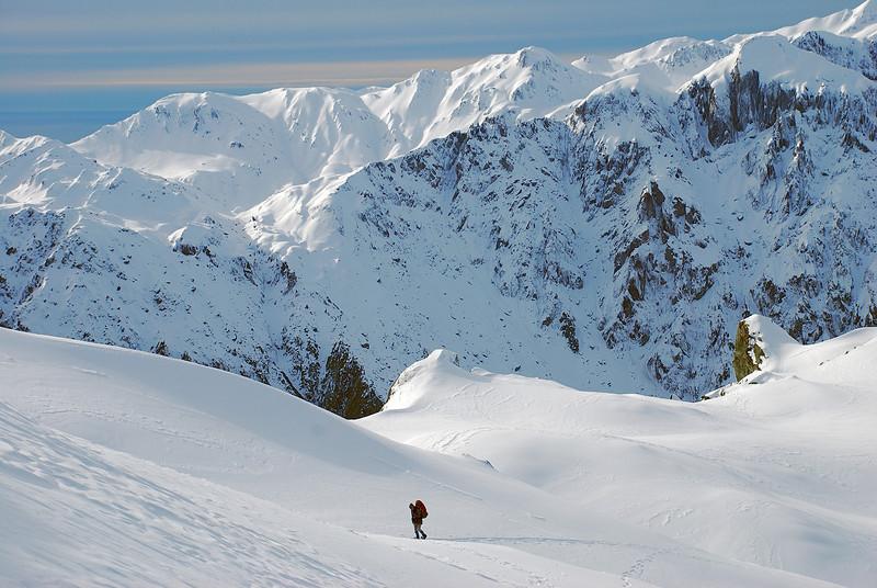 Snow-shoeing towards Craig Peak, Fox Range